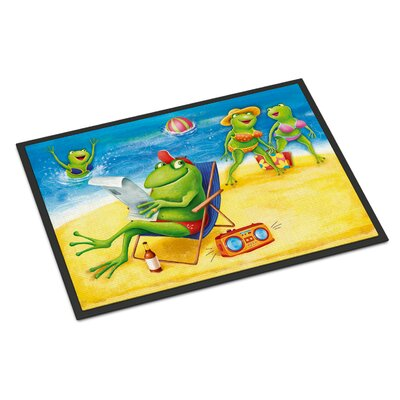 Frogs on the Beach Doormat Rug Size: 2 x 3
