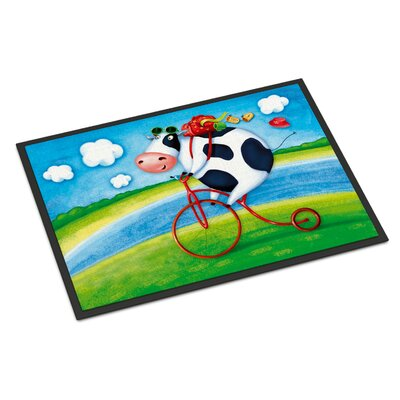 Cow Riding Bicycle Doormat Rug Size: 2 x 3