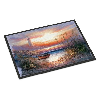 Lighthouse Scene with Boat Doormat Rug Size: Rectangle 2 x 3