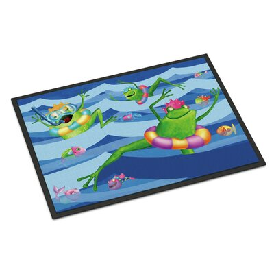 Frogs Swimming Doormat Rug Size: Rectangle 2 x 3
