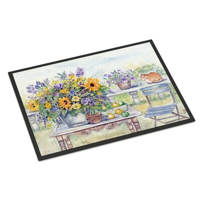 Patio Bouquet of Flowers Doormat Rug Size: Rectangle 16 x 23