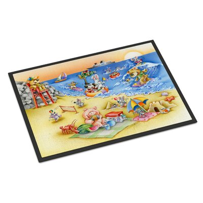 Animals Swimming at the Beach Doormat Rug Size: Rectangle 2 x 3