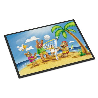 Bears Playing Volleyball Doormat Mat Size: Rectangle 2 x 3