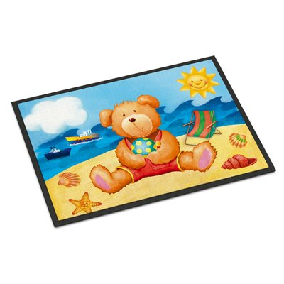 Teddy Bear on the Beach Doormat Rug Size: 16 x 23