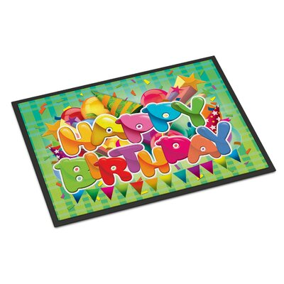 Happy Birthday Doormat Rug Size: 2 x 3