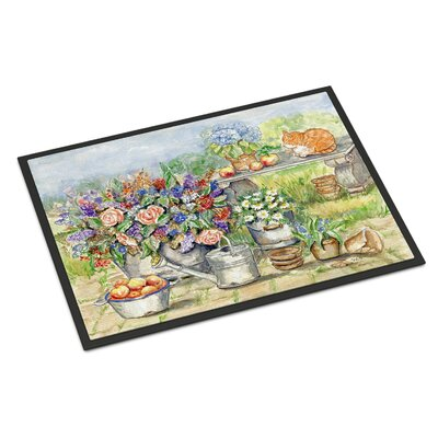 Patio Bouquet and Cat Doormat Rug Size: 2 x 3
