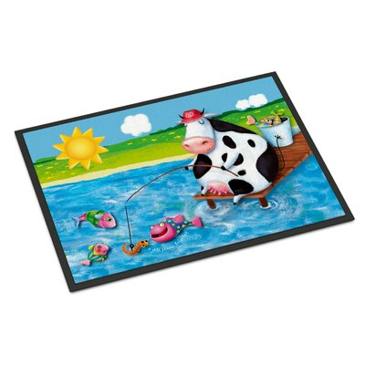Cow Fishing Off of a Pier Doormat Mat Size: Rectangle 16 x 23