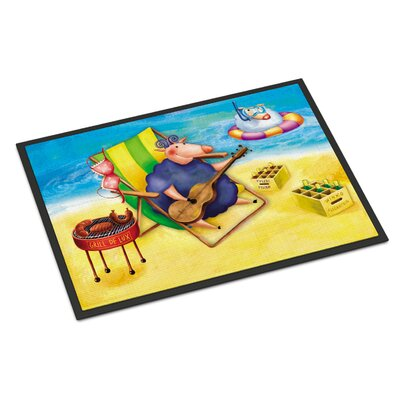 Pig Sunbathing on the Beach Doormat Rug Size: 16 x 23