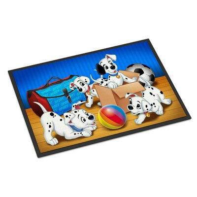 Dalmatians Playing Ball Doormat Mat Size: Rectangle 2 x 3