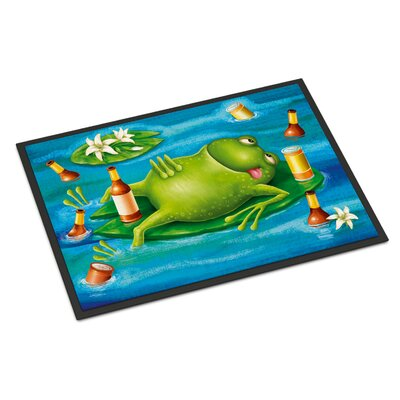 Frog Drinking Beer Doormat Mat Size: Rectangle 16 x 23
