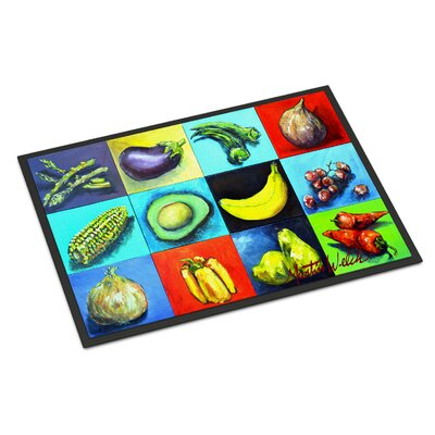 Mixed Fruits and Vegetables Doormat Mat Size: Rectangle 16 x 23