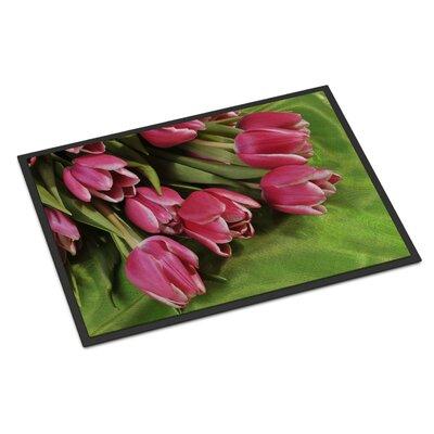 Pink Tulips Doormat Rug Size: 16 x 23