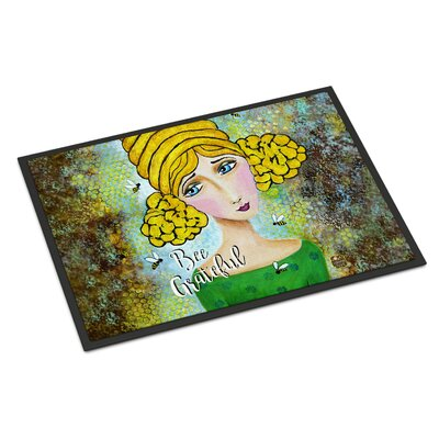Bee Grateful Girl with Beehive Doormat Rug Size: 2 x 3