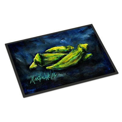Okra Bleu Doormat Rug Size: Rectangle 16 x 23