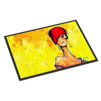 Azalines Earrings Lady Doormat Rug Size: 2 x 3