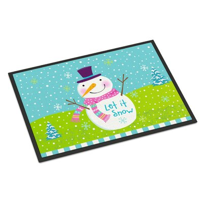 Christmas Snowman Let it Snow Doormat Rug Size: 2 x 3