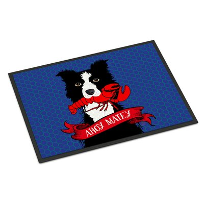Ahoy Doormatey Nautical Border Collie Doormat Rug Size: Rectangle 2 x 3