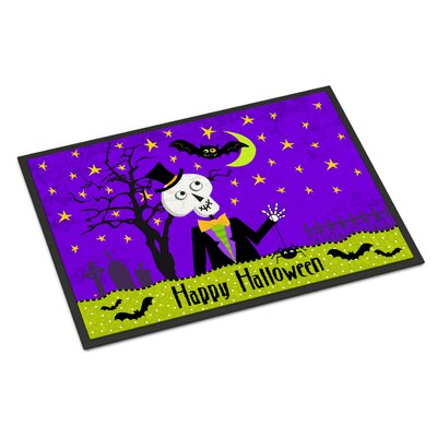 Happy Halloween Skeleton Doormat Mat Size: Rectangle 16 x 23
