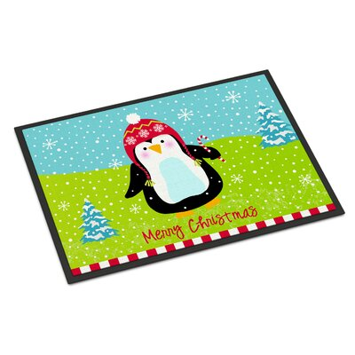 Merry Christmas Happy Penguin Doormat Rug Size: Rectangle 16 x 23