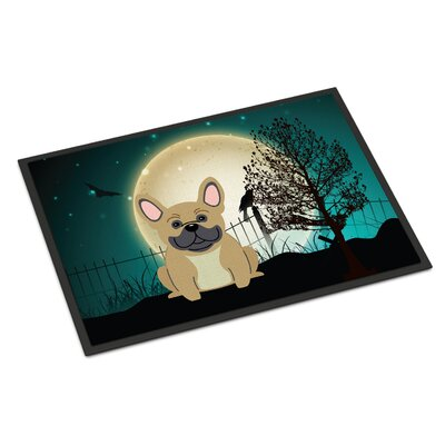 Halloween Scary French Bulldog Doormat Mat Size: Rectangle 2 x 3, Color: Cream