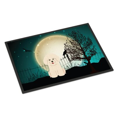 Halloween Scary Bichon Frise Doormat Mat Size: Rectangle 2 x 3