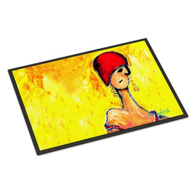 Azalines Earrings Lady Doormat Rug Size: Rectangle 16 x 23