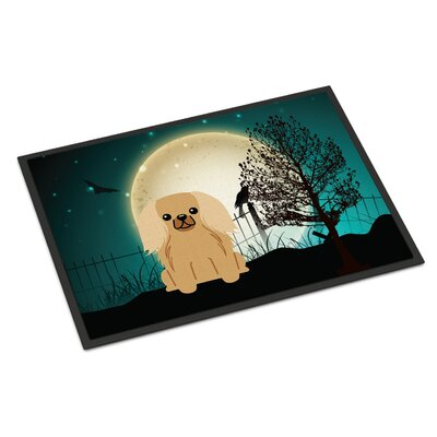 Halloween Scary Pekingnese Doormat Mat Size: Rectangle 2 x 3, Color: Fawn / Sable
