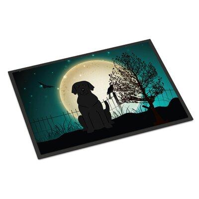Halloween Scary Labrador Doormat Rug Size: Rectangle 2 x 3, Color: Black