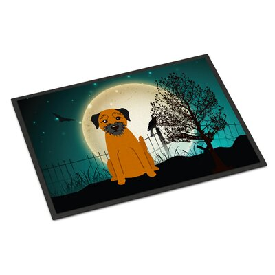Halloween Scary Border Terrier Doormat Mat Size: Rectangle 2 x 3