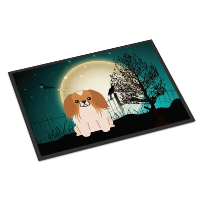 Halloween Scary Pekingnese Doormat Rug Size: Rectangle 16 x 23, Color: Red / White