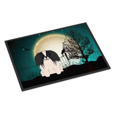 Halloween Scary Pekingnese Doormat Mat Size: Rectangle 16 x 23, Color: Black / White