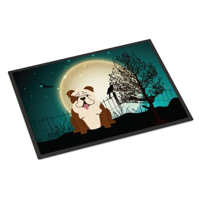 Halloween Scary English Bulldog Doormat Mat Size: Rectangle 2 x 3, Color: Brindle / White