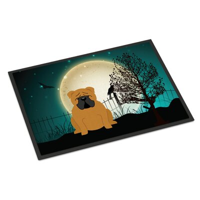 Halloween Scary English Bulldog Doormat Mat Size: Rectangle 2 x 3, Color: Red