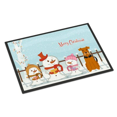 Merry Christmas Carolers Airedale Doormat Mat Size: Rectangle 2 x 3