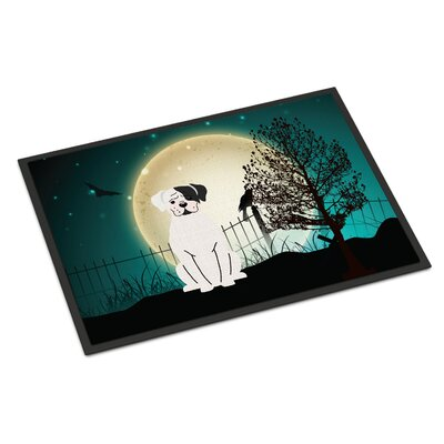 Halloween Scary Boxer Doormat Mat Size: Rectangle 16 x 23, Color: White
