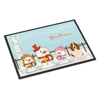 Merry Christmas Carolers Basset Hound Doormat Rug Size: Rectangle 2 x 3