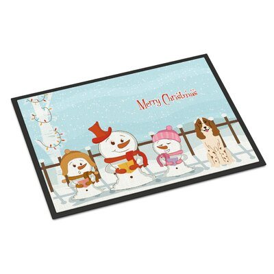 Merry Christmas Carolers Russian Spaniel Doormat Mat Size: Rectangle 2 x 3