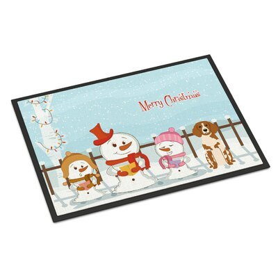 Merry Christmas Carolers Brittany Spaniel Doormat Mat Size: Rectangle 2 x 3
