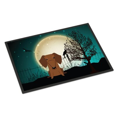 Halloween Scary Dachshund Doormat Mat Size: Rectangle 2 x 3, Color: Red / Brown
