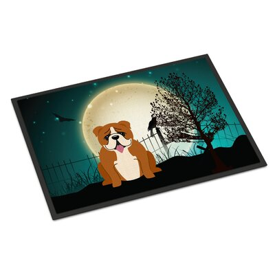 Halloween Scary English Bulldog Doormat Mat Size: Rectangle 16 x 23, Color: Red / White