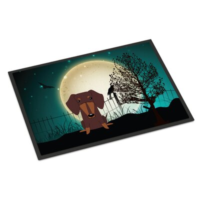 Halloween Scary Dachshund Doormat Mat Size: Rectangle 2 x 3, Color: Chocolate