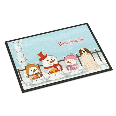 Merry Christmas Carolers Saint Bernard Doormat Mat Size: Rectangle 2 x 3