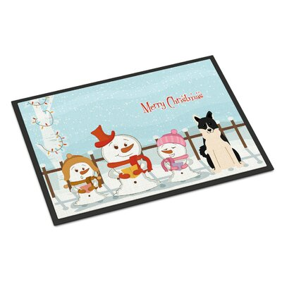 Merry Christmas Carolers Russo-European Laika Spitz Doormat Mat Size: Rectangle 2 x 3