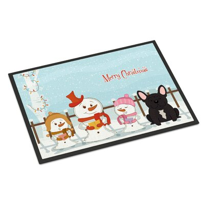 Merry Christmas Carolers French Bulldog Doormat Mat Size: Rectangle 2 x 3