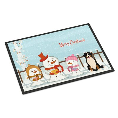 Merry Christmas Carolers Bernese Mountain Dog Doormat Mat Size: Rectangle 2 x 3