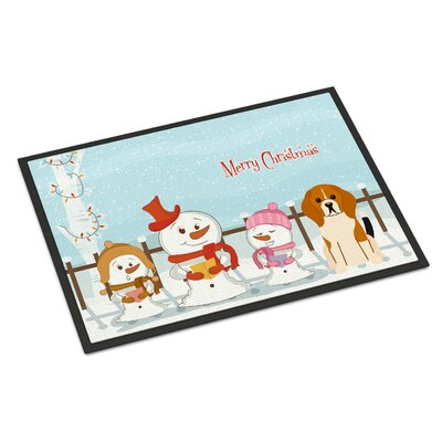 Merry Christmas Carolers Beagle Tricolor Doormat Mat Size: Rectangle 2 x 3