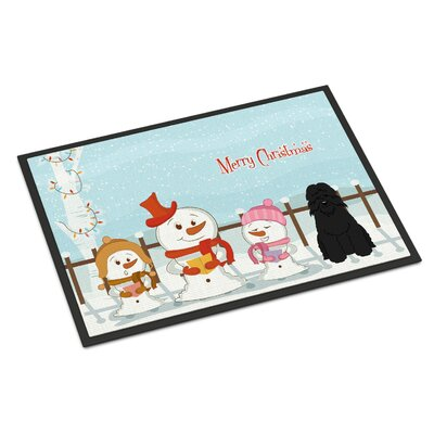 Merry Christmas Carolers Bouvier Des Flandres Doormat Rug Size: 2 x 3