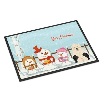 Merry Christmas Carolers Old English Sheepdog Doormat Mat Size: Rectangle 2 x 3