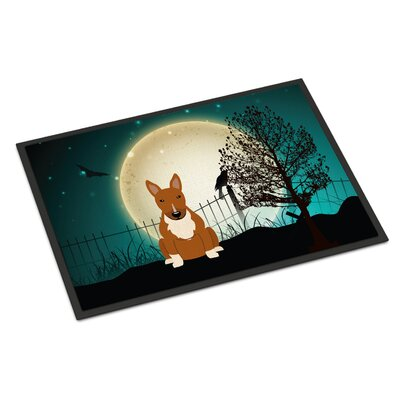 Halloween Scary Bull Terrier Doormat Rug Size: Rectangle 16 x 23, Color: Red