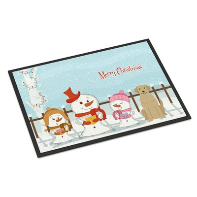 Merry Christmas Carolers Labrador Doormat Mat Size: Rectangle 2 x 3